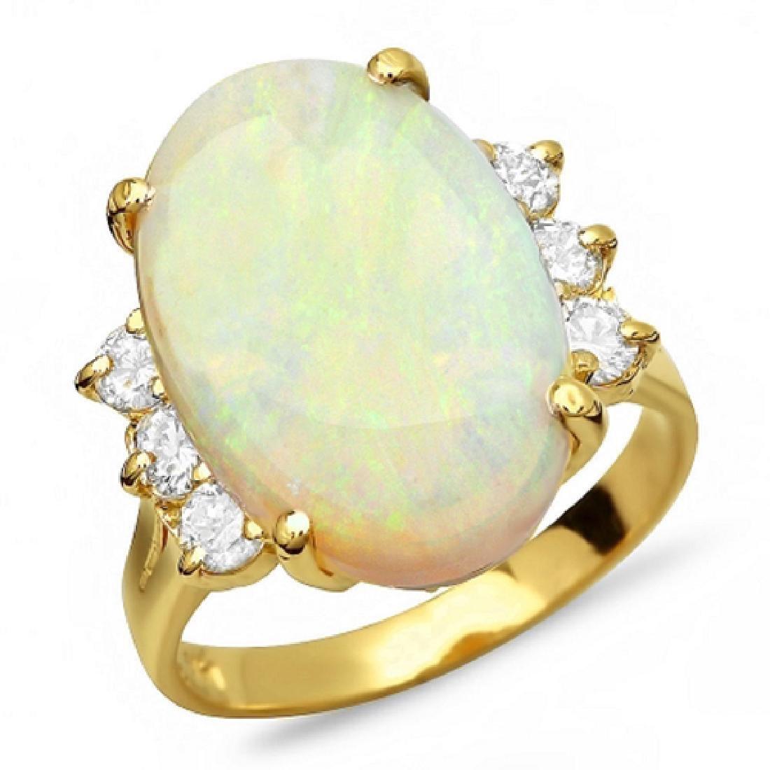 6.00 Carat Natural Opal 18K Solid Yellow Gold Diamond - 2