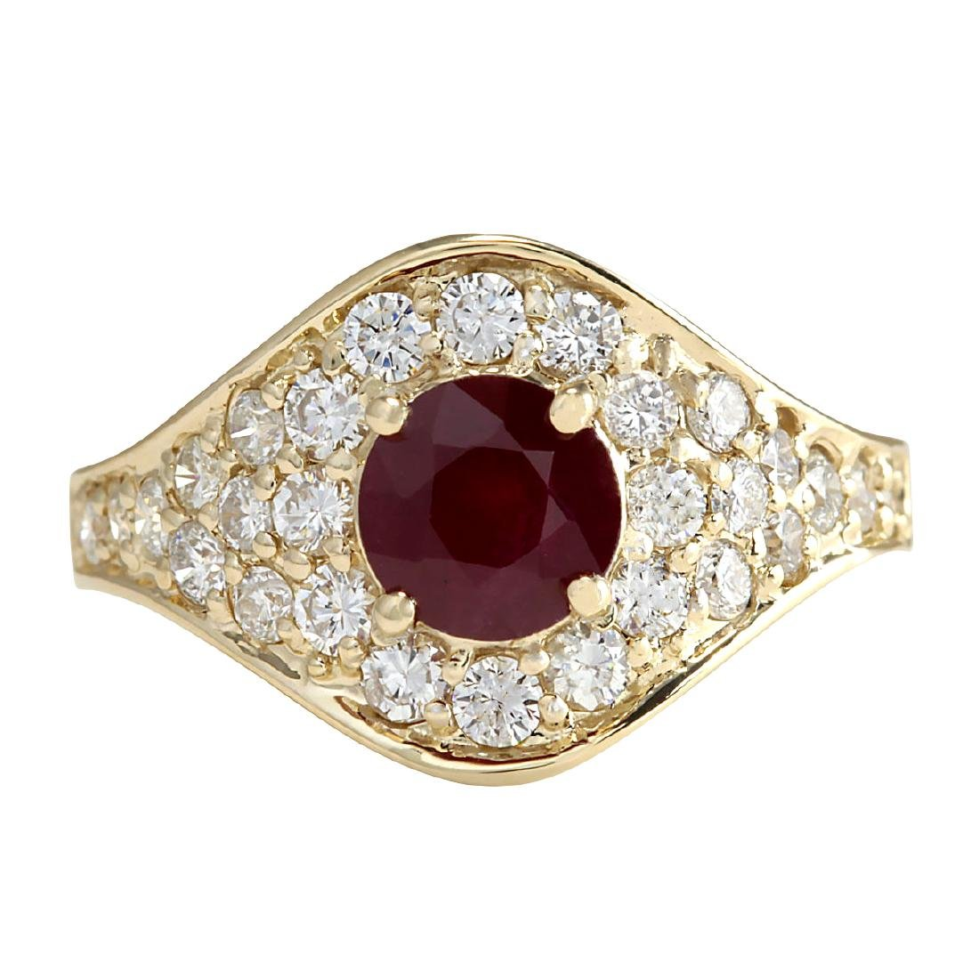 2.32Ct Natural Ruby And Diamond Ring In18K Yellow Gold