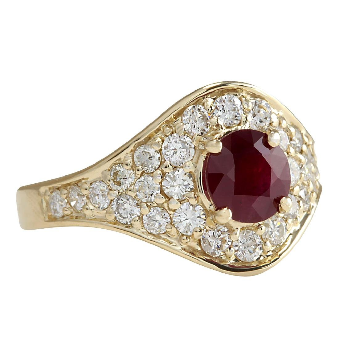 2.32Ct Natural Ruby And Diamond Ring In18K Yellow Gold - 2