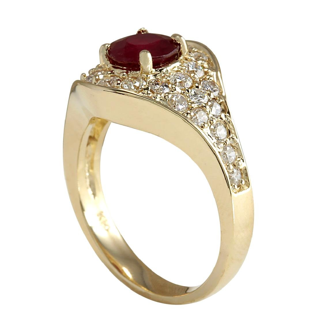 2.32Ct Natural Ruby And Diamond Ring In18K Yellow Gold - 3