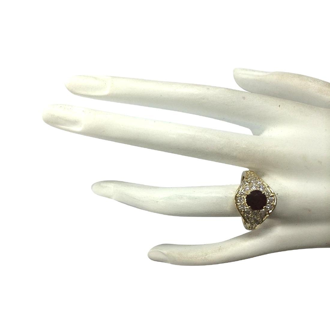 2.32Ct Natural Ruby And Diamond Ring In18K Yellow Gold - 4