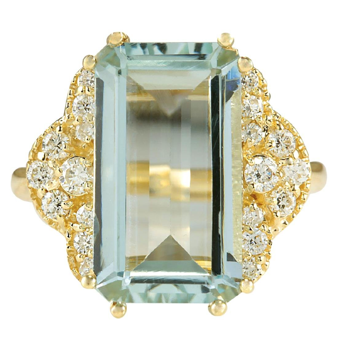 6.37CTW Natural Aquamarine And Diamond Ring In 18K