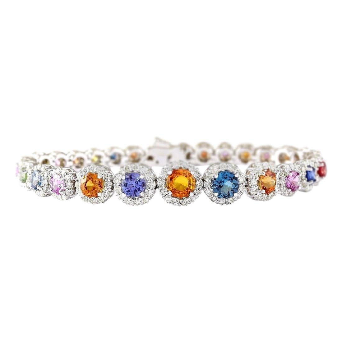 10.79 CTW Natural Sapphire And Diamond Bracelet In 18K