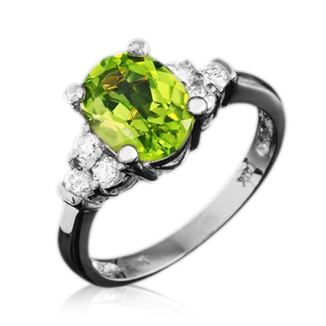 2.50 Carat Natural Peridot 18K Solid White Gold Diamond