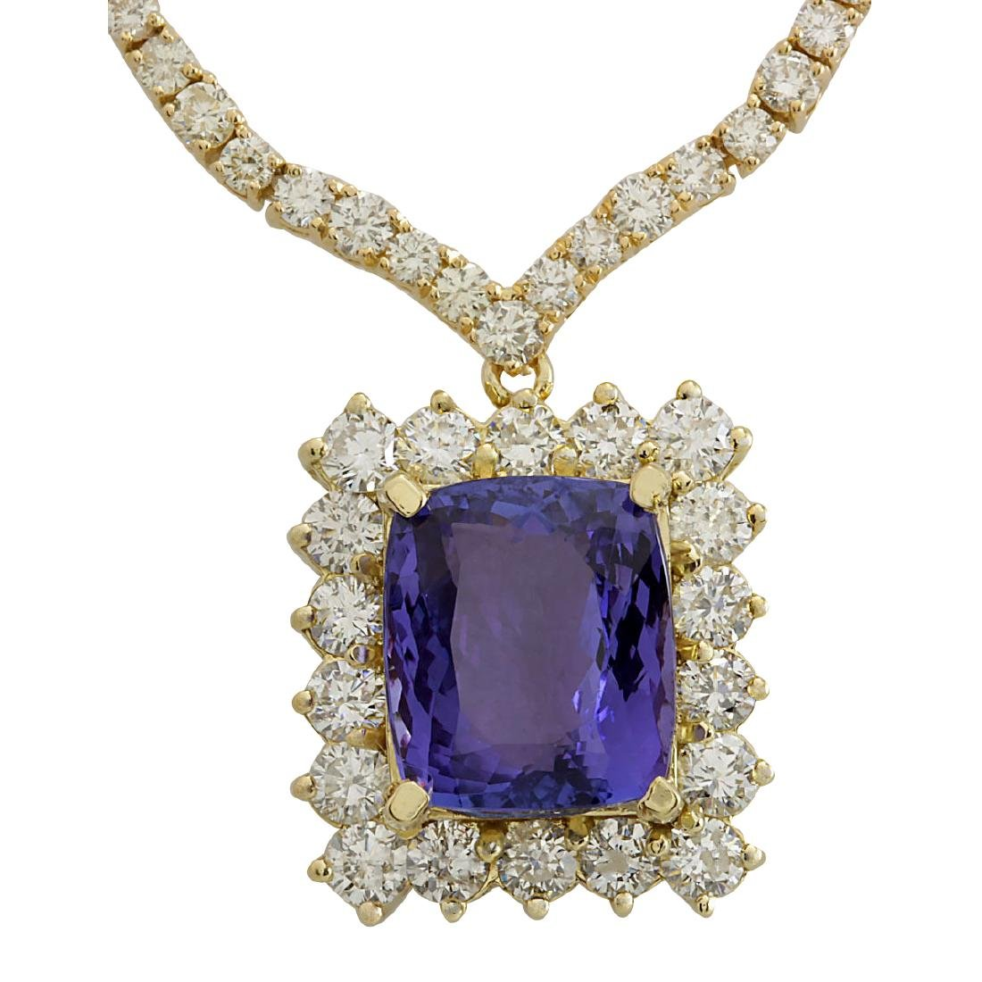 22.92CTW Natural Tanzanite And Diamond Necklace In 18K
