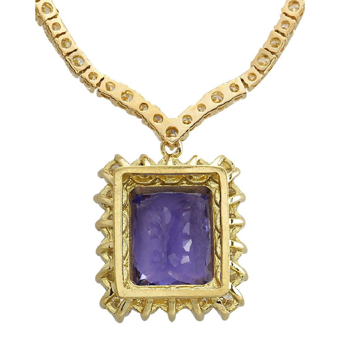 22.92CTW Natural Tanzanite And Diamond Necklace In 18K - 2