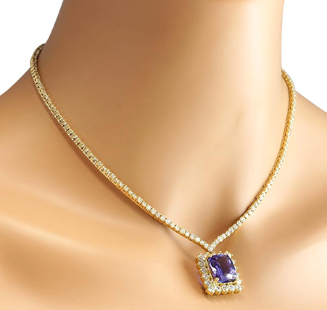 22.92CTW Natural Tanzanite And Diamond Necklace In 18K - 4