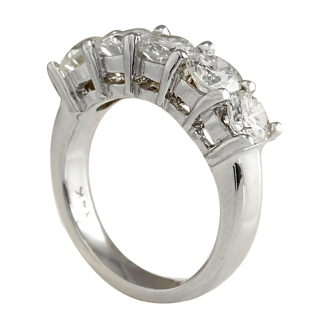 2.56CTW Natural Diamond Ring In 18K Solid White Gold - 3