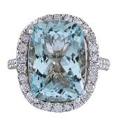 862CTW Natural Blue Aquamarine Diamond Ring 18K Solid