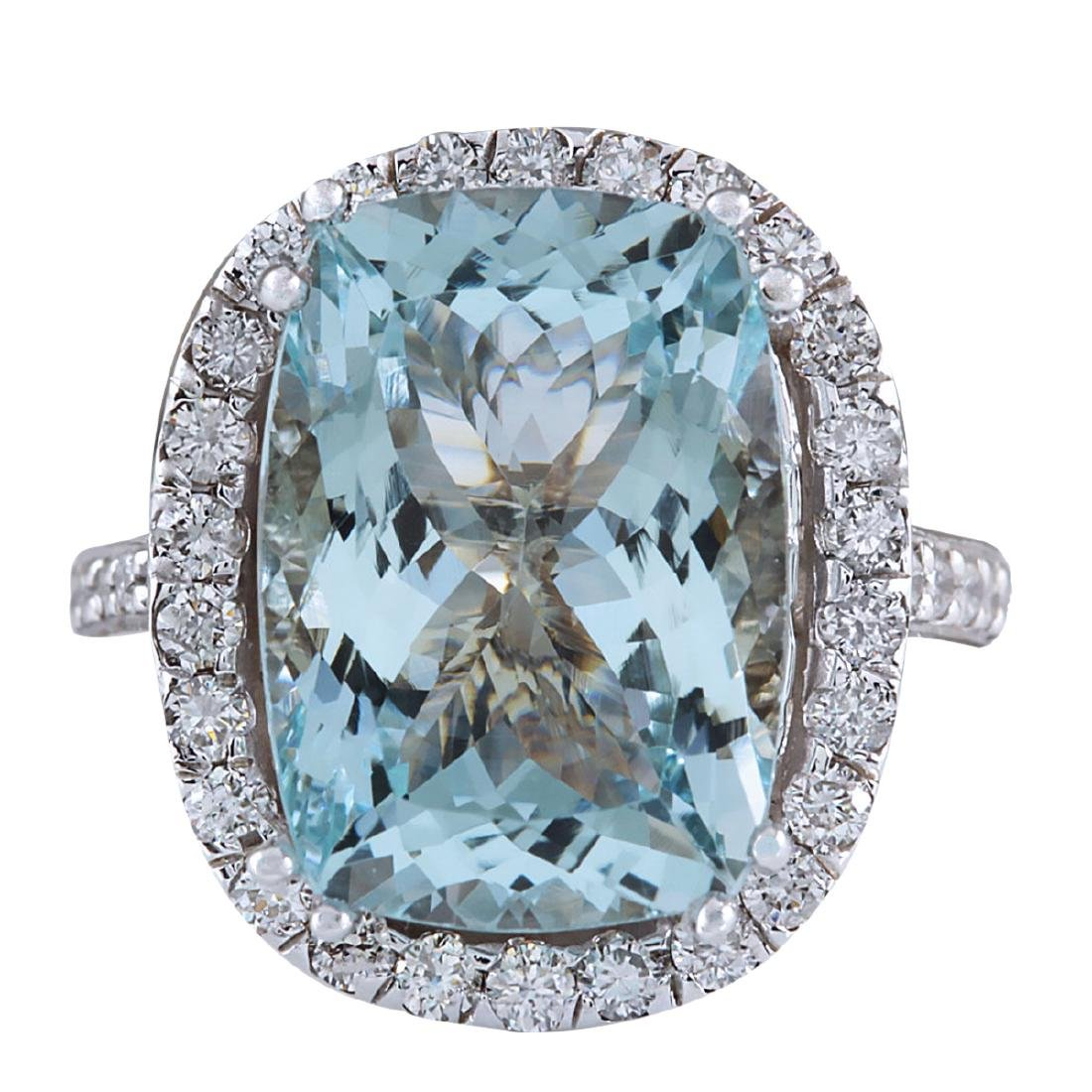 8.62CTW Natural Blue Aquamarine Diamond Ring 18K Solid