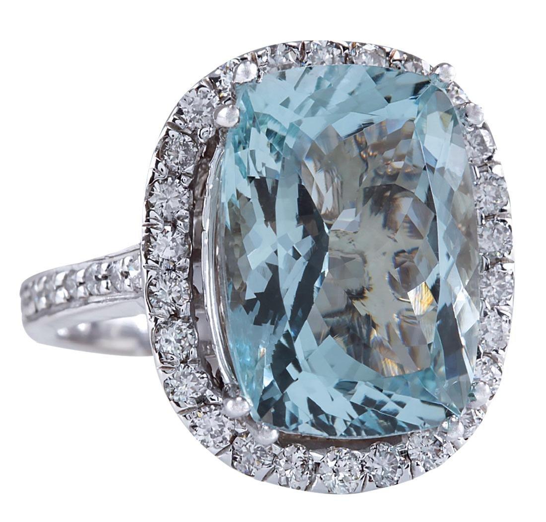 8.62CTW Natural Blue Aquamarine Diamond Ring 18K Solid - 2
