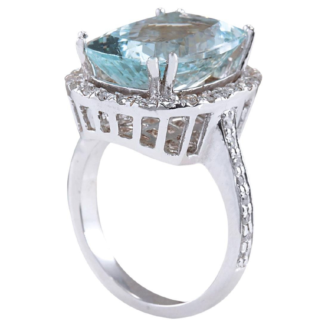 8.62CTW Natural Blue Aquamarine Diamond Ring 18K Solid - 3