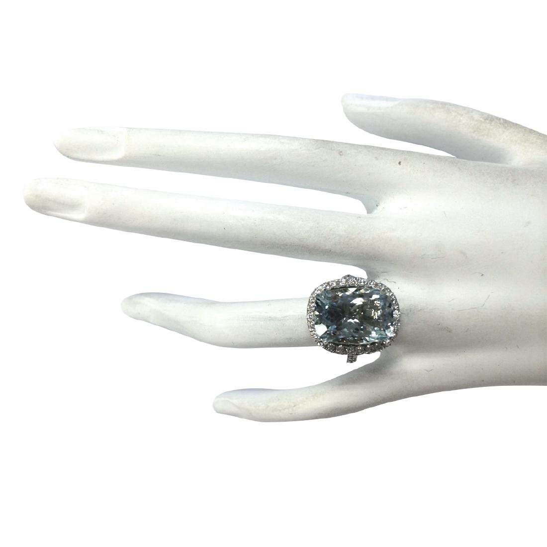 8.62CTW Natural Blue Aquamarine Diamond Ring 18K Solid - 4