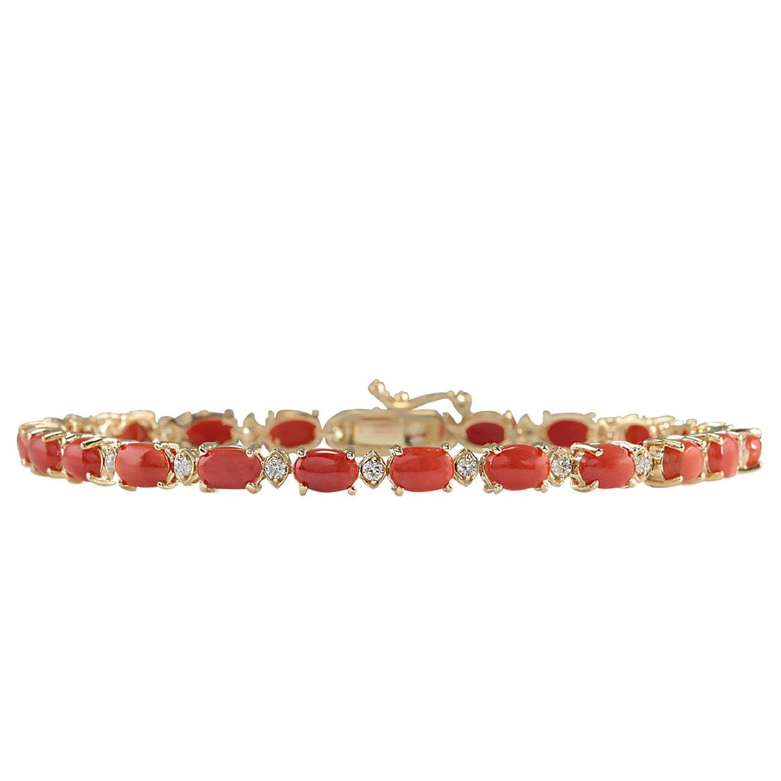 8.77CTW Natural Red Coral And Diamond Bracelet In 18K