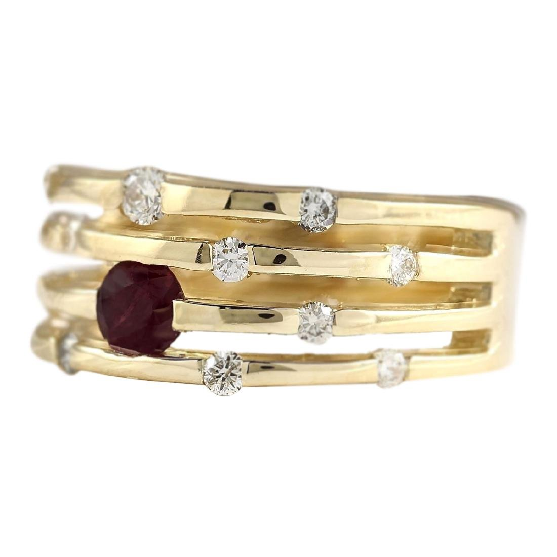 1.00 CTW Natural Ruby And Diamond Ring In 18K Yellow