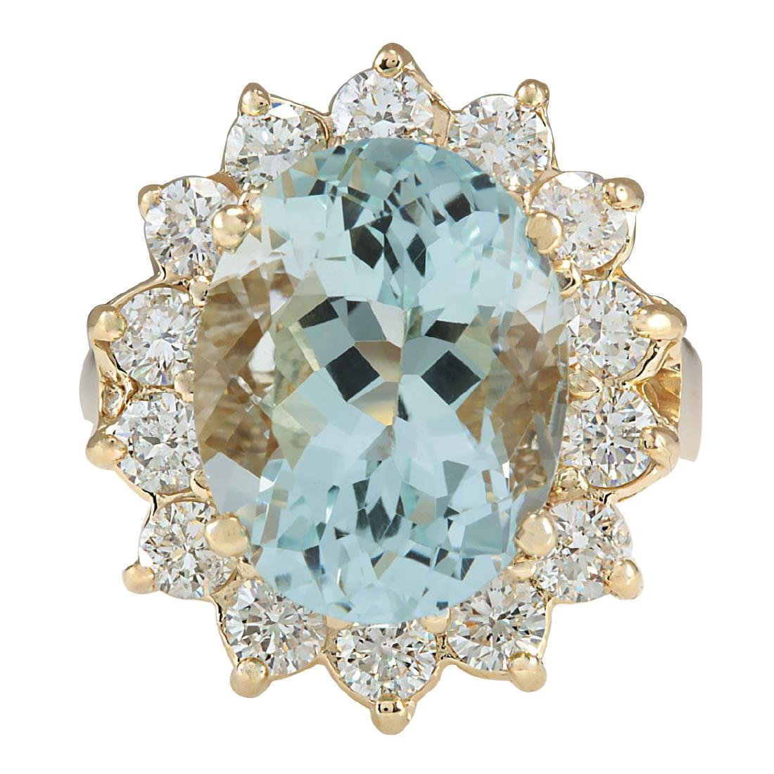10.48Ct Natural Aquamarine And Diamond Ring In18K Solid