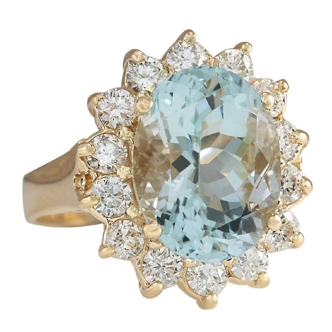 10.48Ct Natural Aquamarine And Diamond Ring In18K Solid - 2