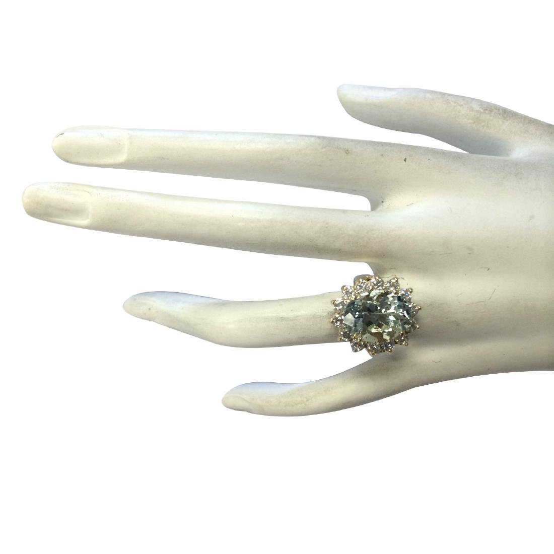 10.48Ct Natural Aquamarine And Diamond Ring In18K Solid - 4