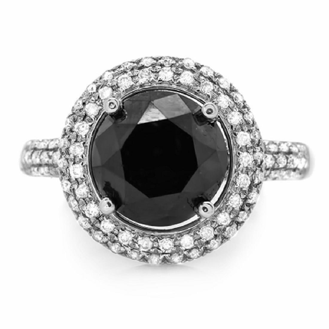 4.64 Carat Natural Diamond 18K Solid White Gold Ring - 2
