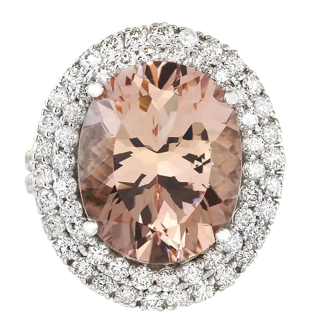 11.53 CTW Natural Morganite And Diamond Ring In 18K