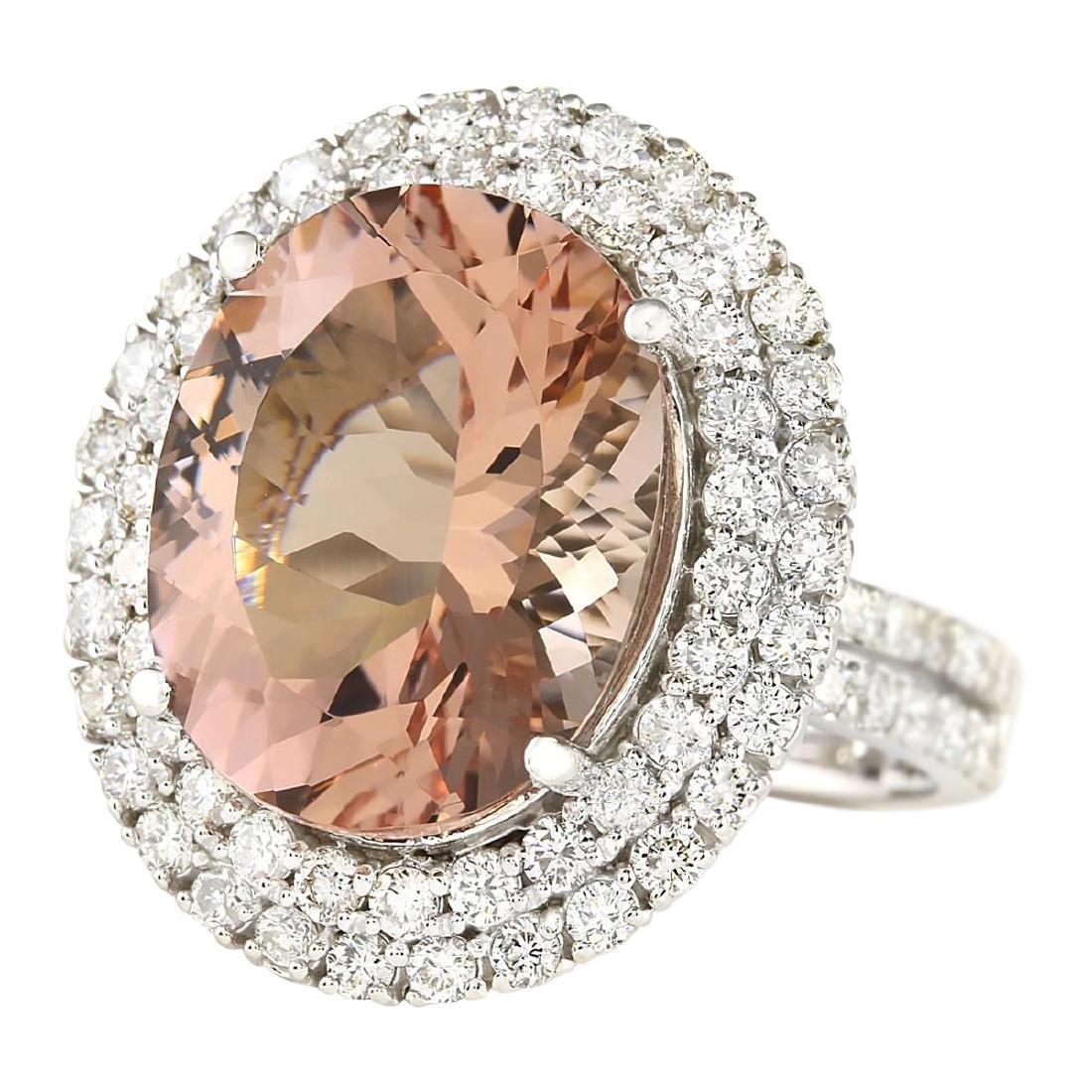 11.53 CTW Natural Morganite And Diamond Ring In 18K - 2