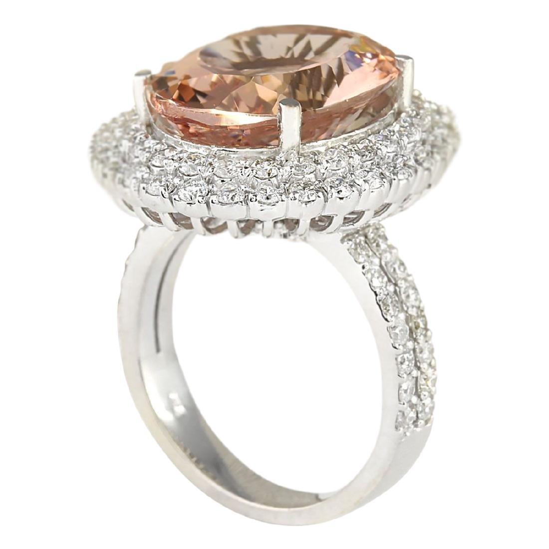 11.53 CTW Natural Morganite And Diamond Ring In 18K - 3