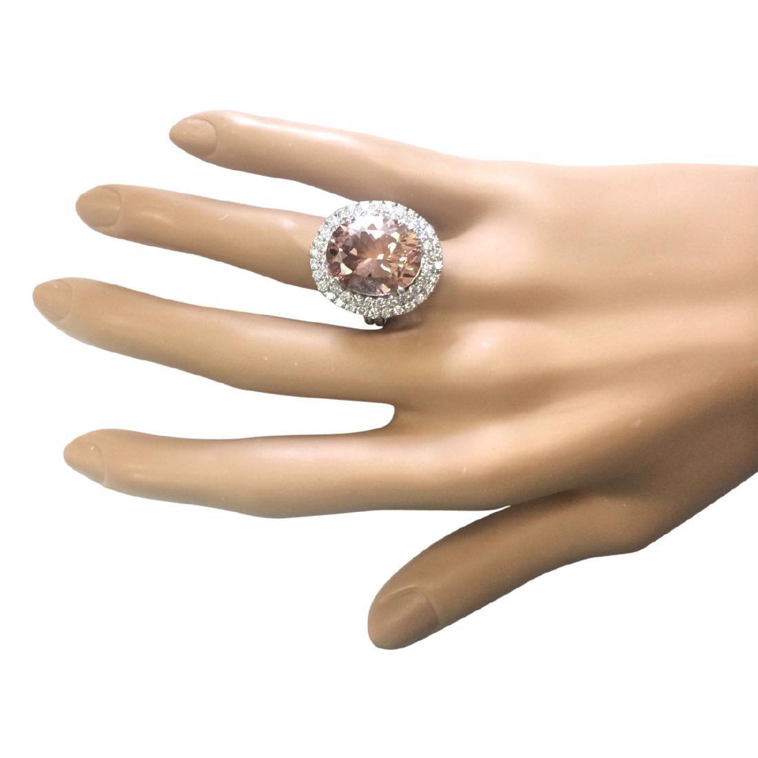 11.53 CTW Natural Morganite And Diamond Ring In 18K - 4