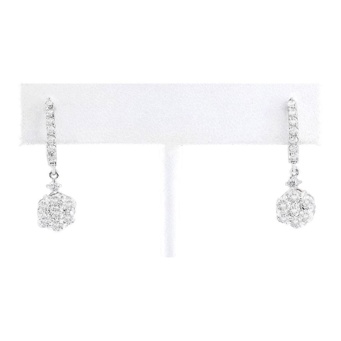 2.24 CTW Natural Diamond Earrings 18K Solid White Gold