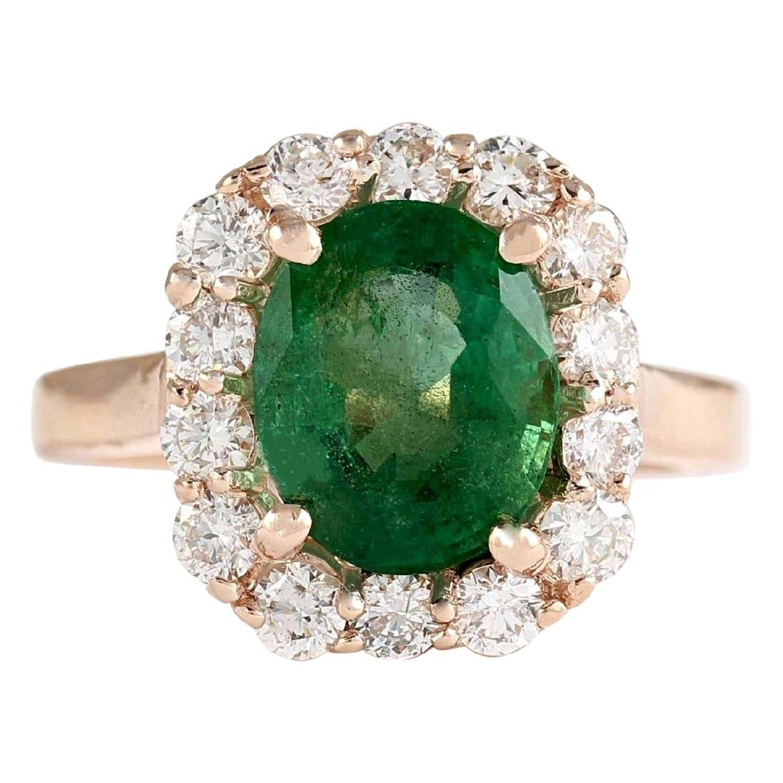 4.18 CTW Natural Emerald And Diamond Ring In 18K Rose