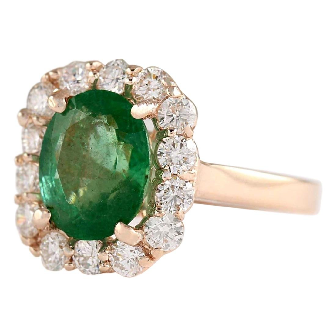 4.18 CTW Natural Emerald And Diamond Ring In 18K Rose - 2