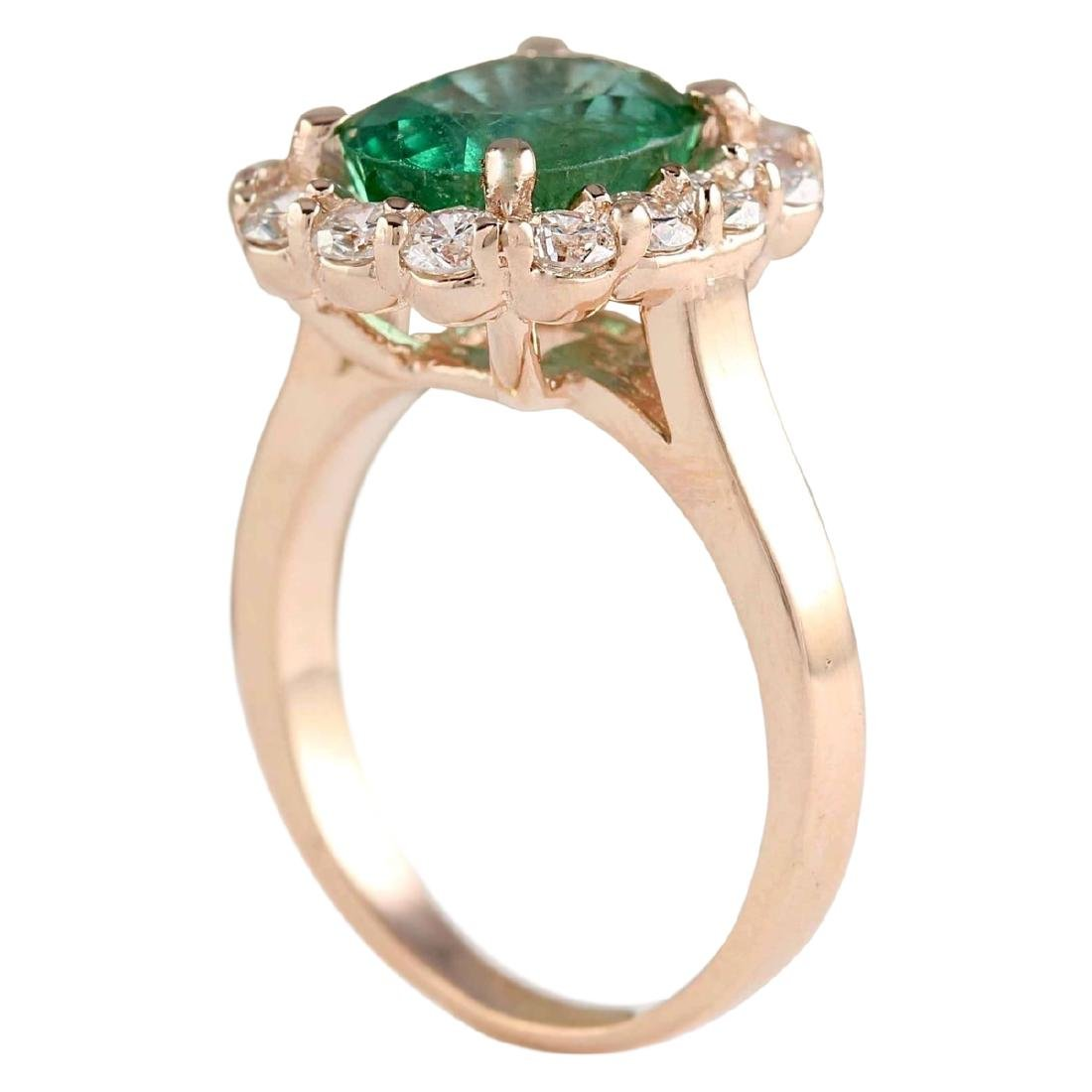 4.18 CTW Natural Emerald And Diamond Ring In 18K Rose - 3