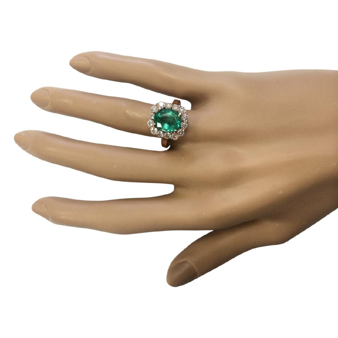 4.18 CTW Natural Emerald And Diamond Ring In 18K Rose - 4