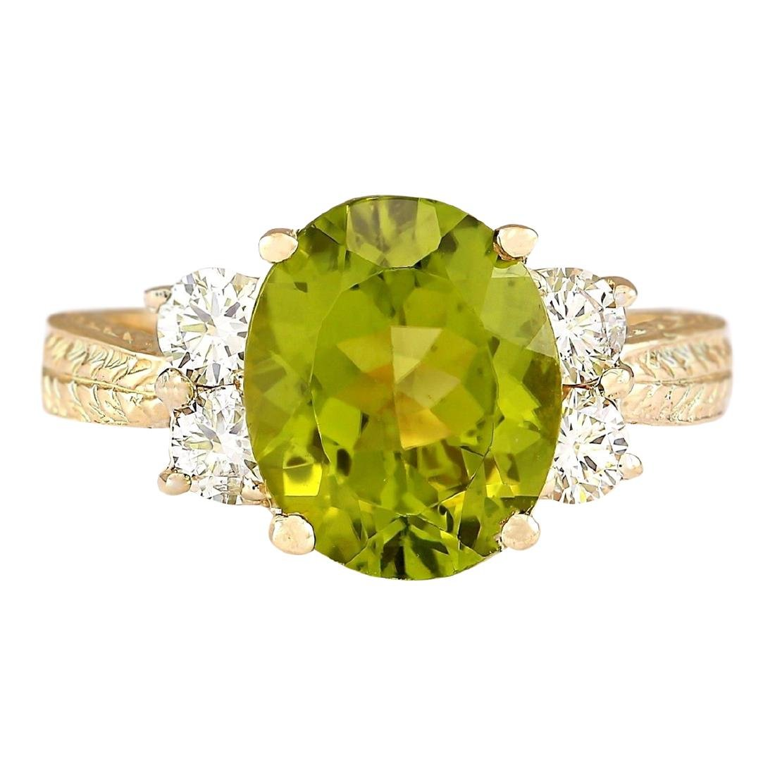 4.31 CTW Natural Peridot And Diamond Ring In 18K Yellow