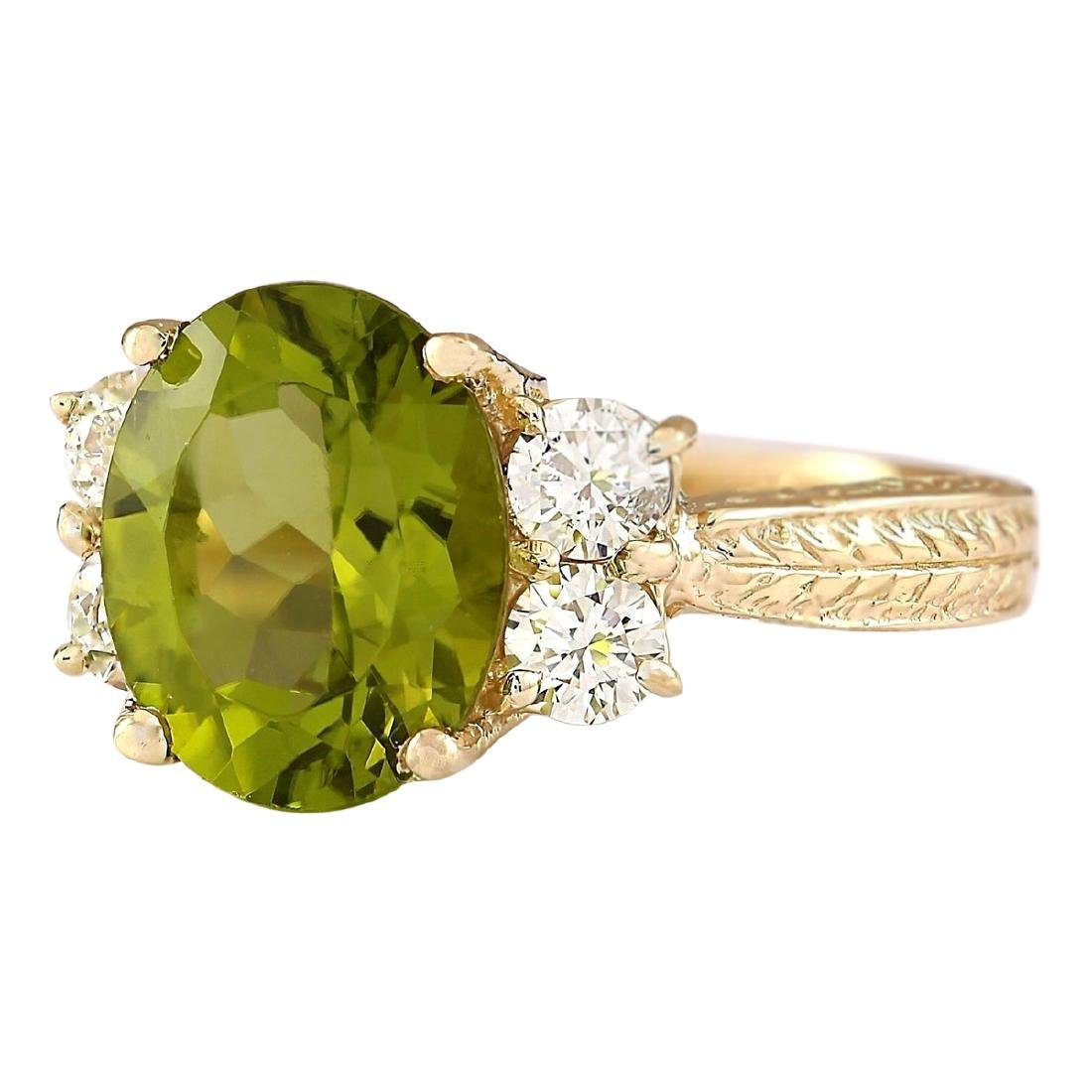 4.31 CTW Natural Peridot And Diamond Ring In 18K Yellow - 2