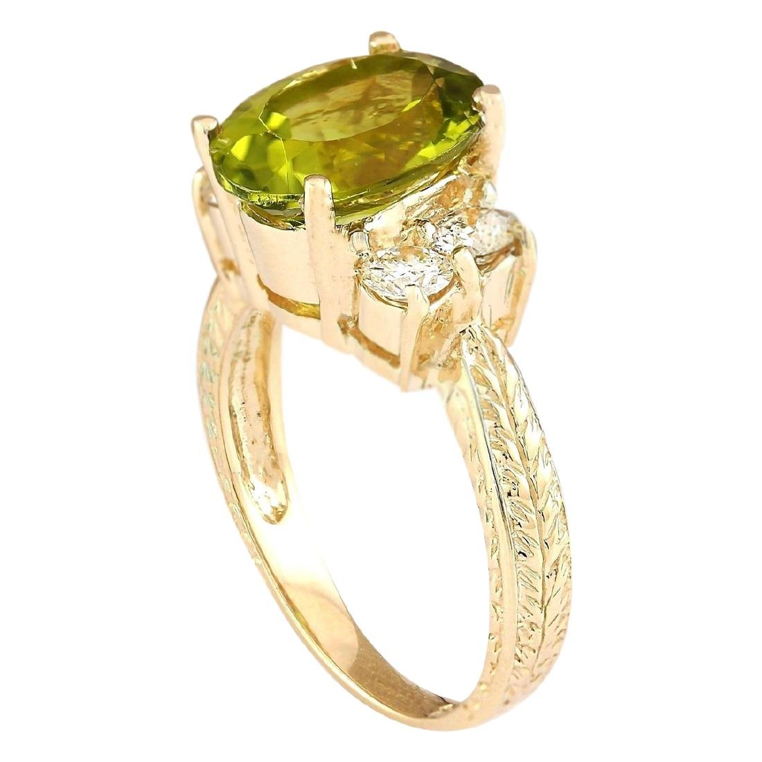 4.31 CTW Natural Peridot And Diamond Ring In 18K Yellow - 3