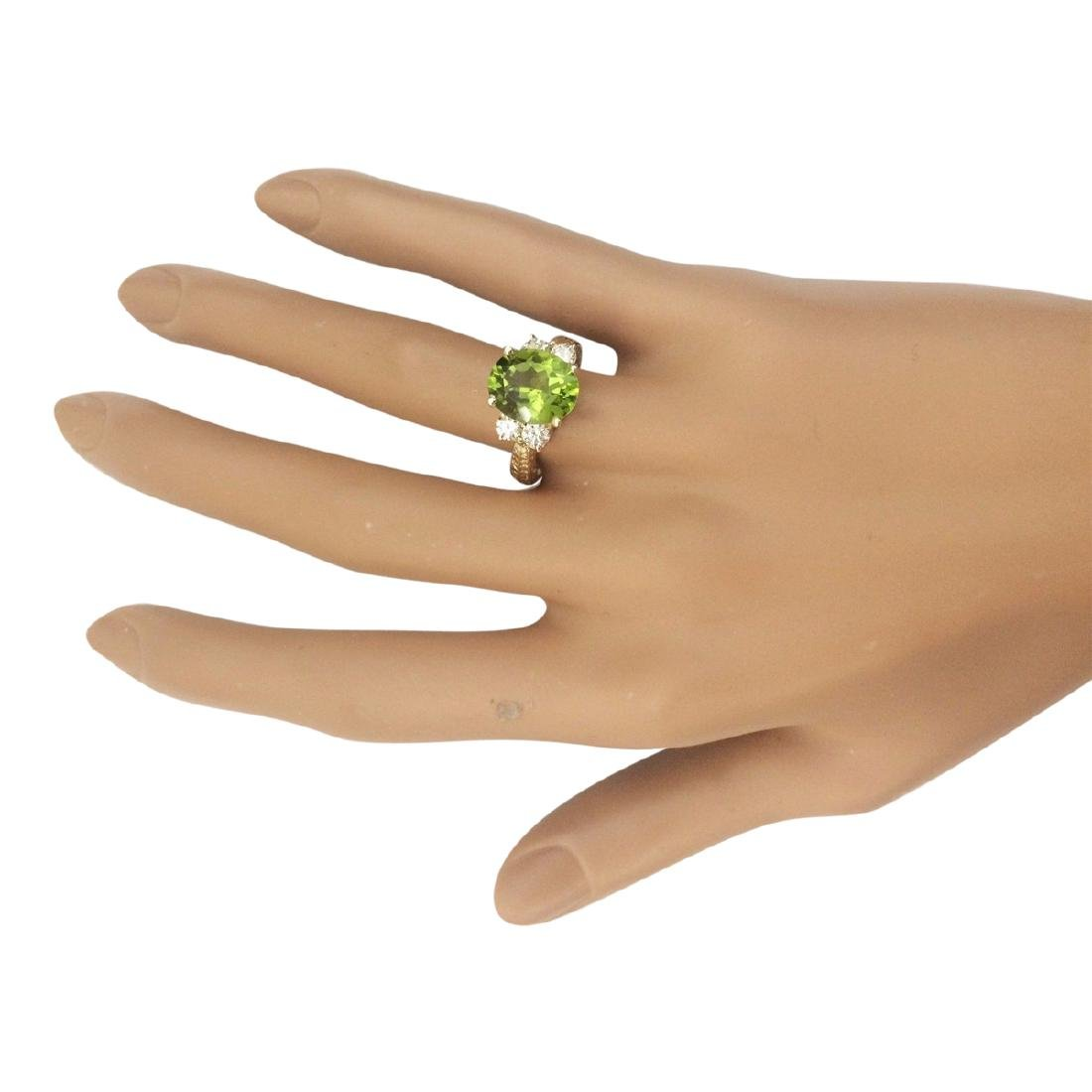 4.31 CTW Natural Peridot And Diamond Ring In 18K Yellow - 4