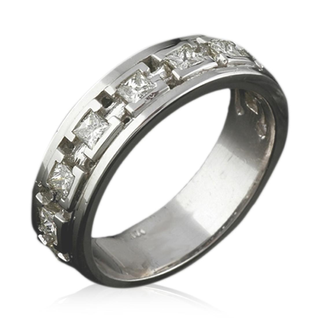 Mens 1.00 Carat Natural Diamond 18K Solid White Gold