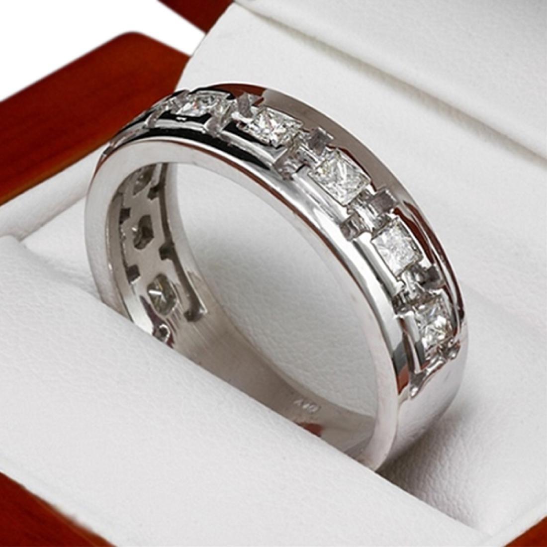 Mens 1.00 Carat Natural Diamond 18K Solid White Gold - 3