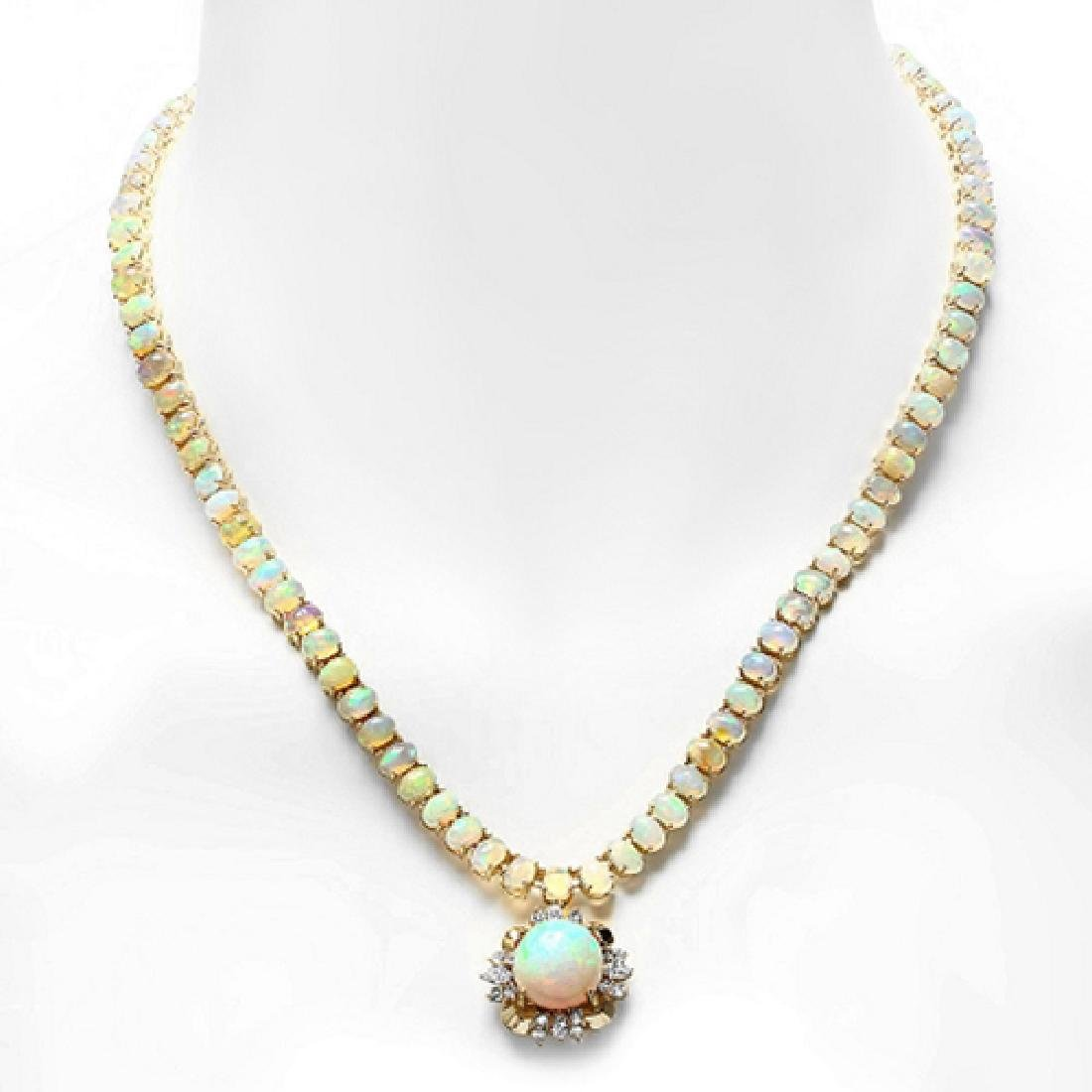 35.62 Carat Natural Opal 18K Solid Yellow Gold Diamond