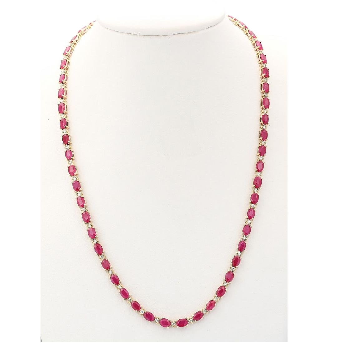 30.65 CTW Natural African Ruby And Diamond Necklace In