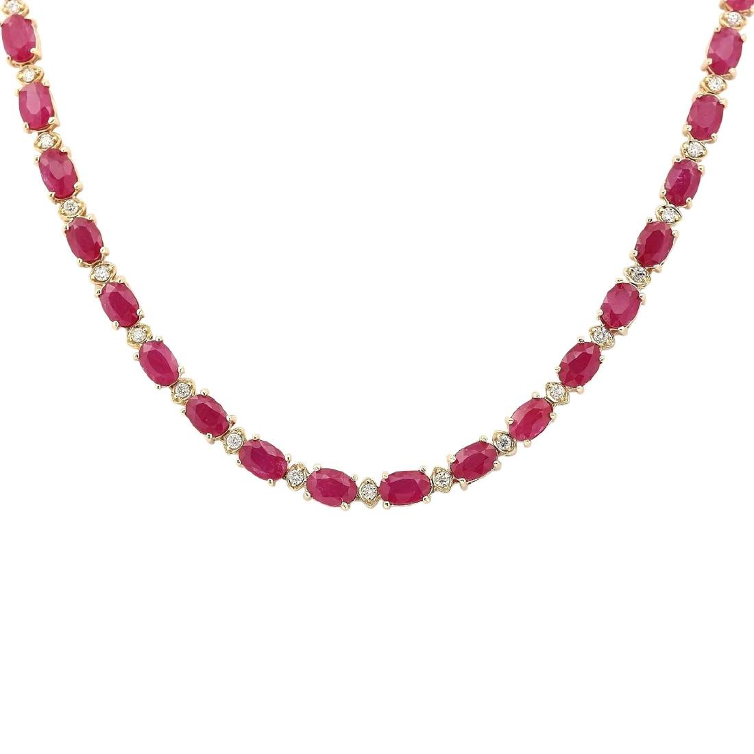 30.65 CTW Natural African Ruby And Diamond Necklace In - 2