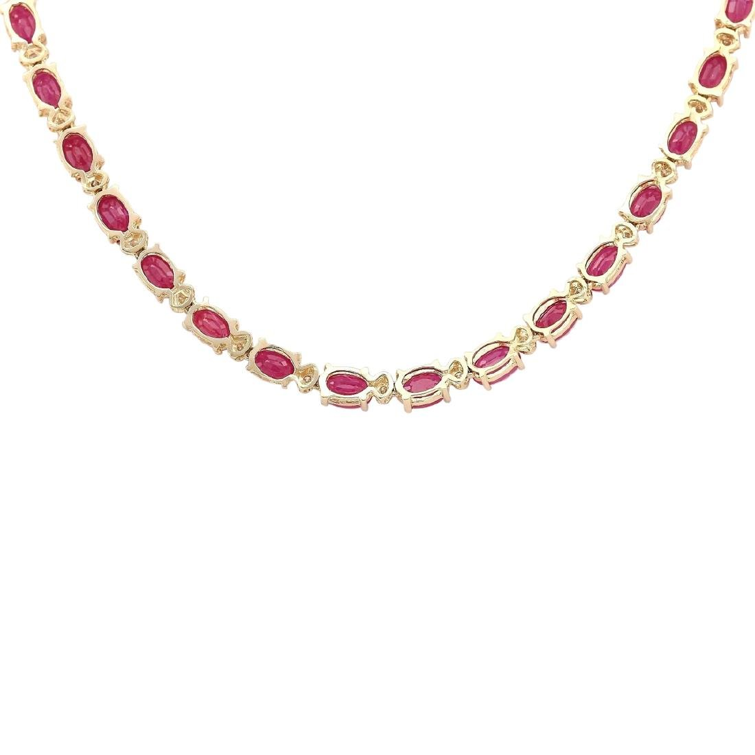30.65 CTW Natural African Ruby And Diamond Necklace In - 3