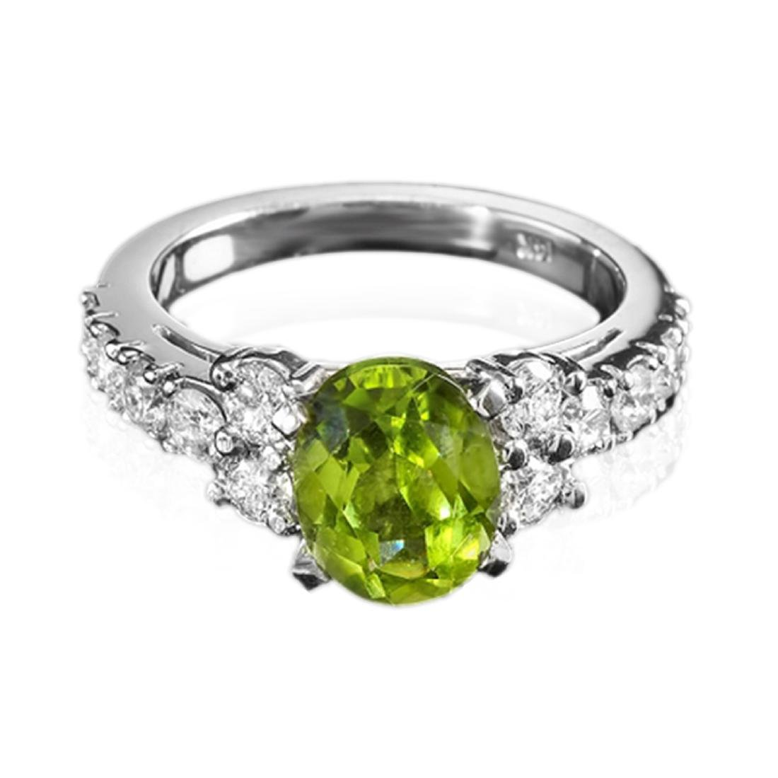 3.00 Carat Natural Peridot 18K Solid White Gold Diamond