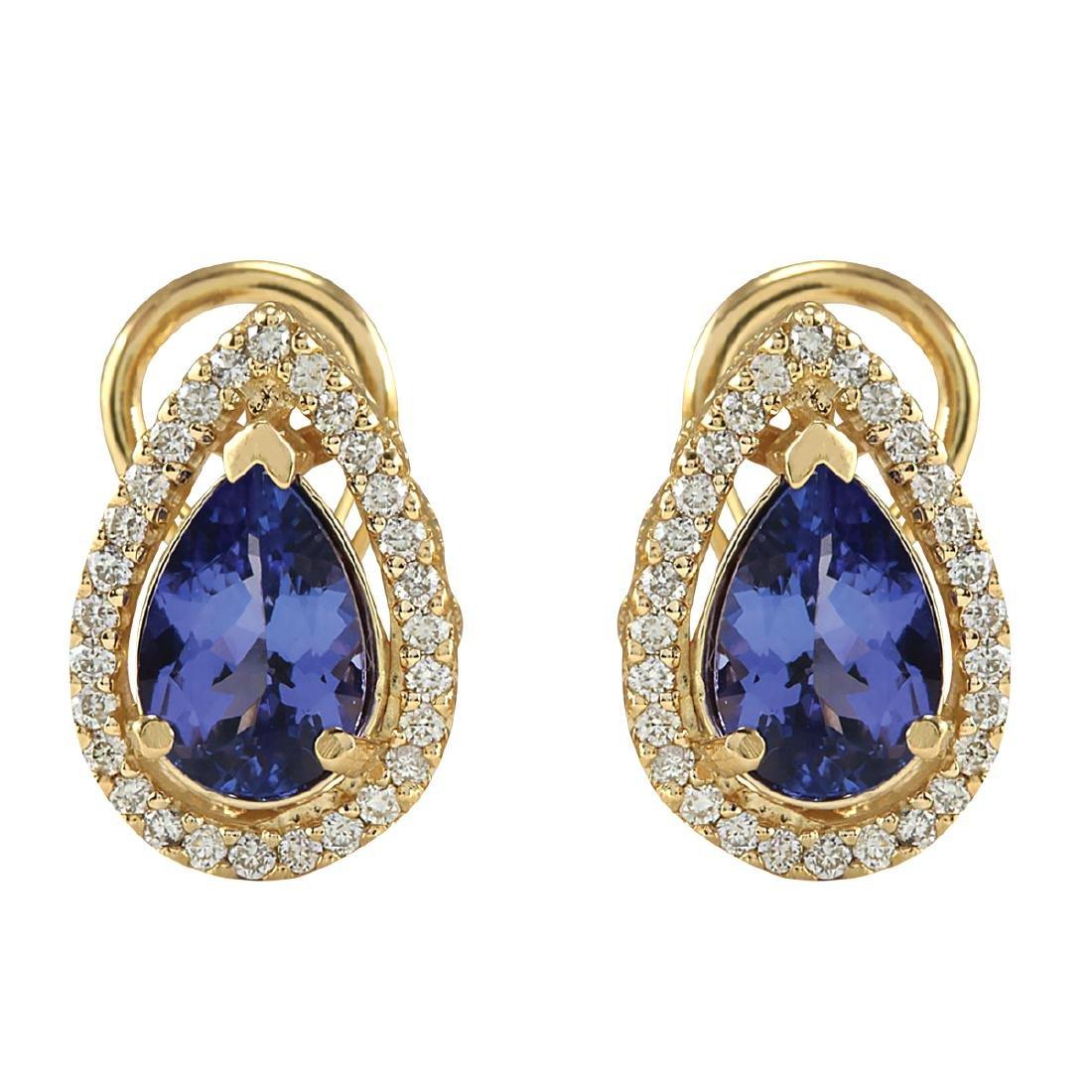 3.62CTW Natural Tanzanite And Diamond Earrings 18K