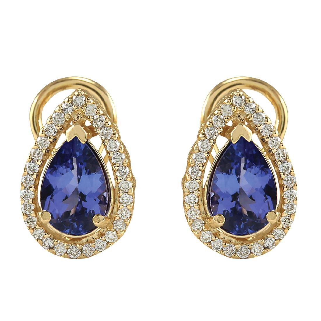 3.62CTW Natural Tanzanite And Diamond Earrings 18K