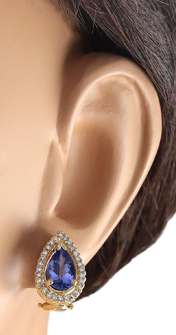 3.62CTW Natural Tanzanite And Diamond Earrings 18K - 3