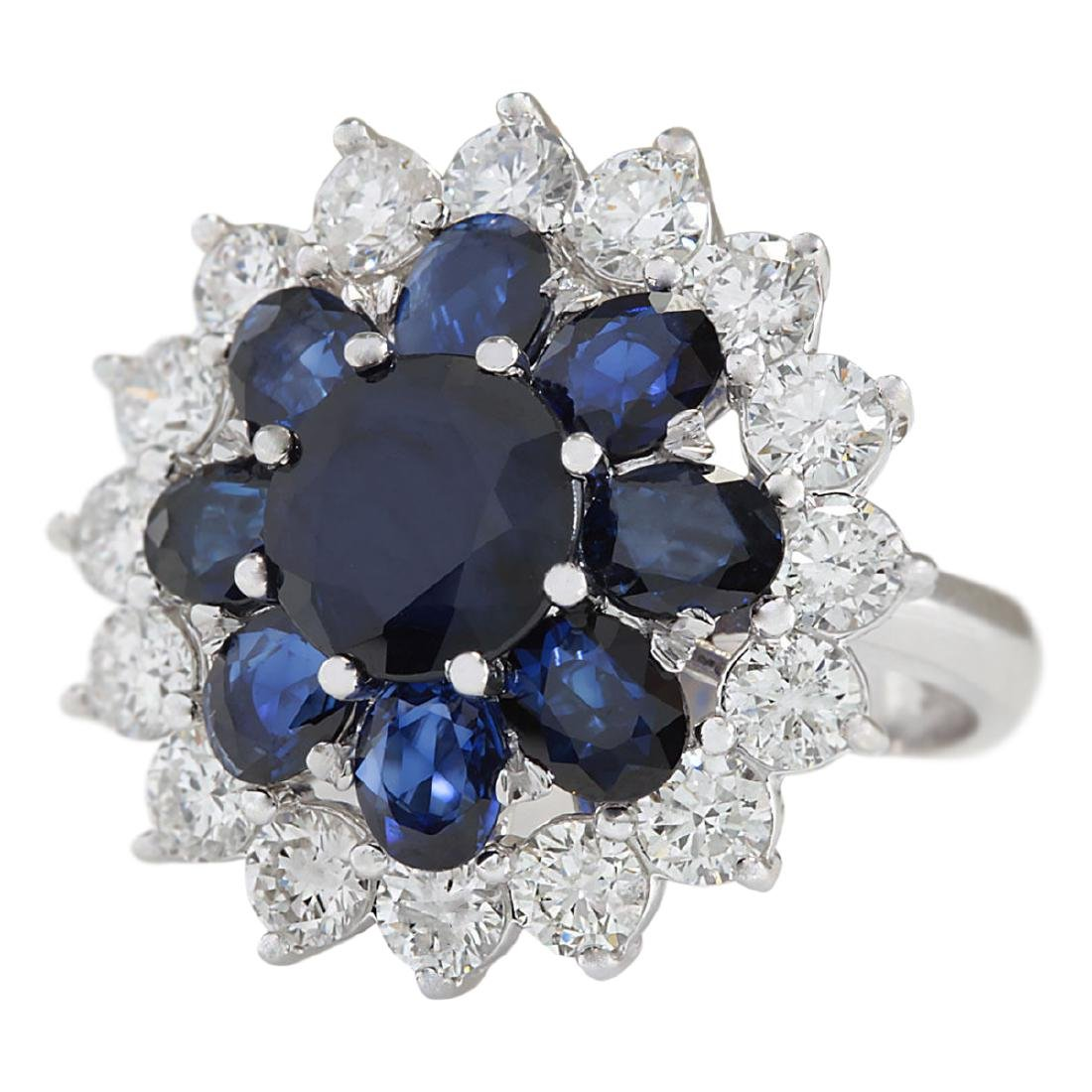 6.37 CTW Natural Sapphire And Diamond Ring In 18K White - 2