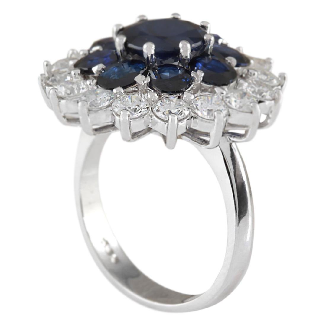 6.37 CTW Natural Sapphire And Diamond Ring In 18K White - 3