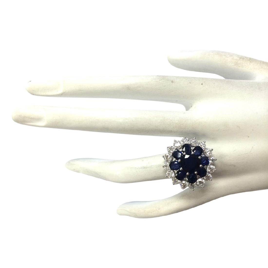 6.37 CTW Natural Sapphire And Diamond Ring In 18K White - 4