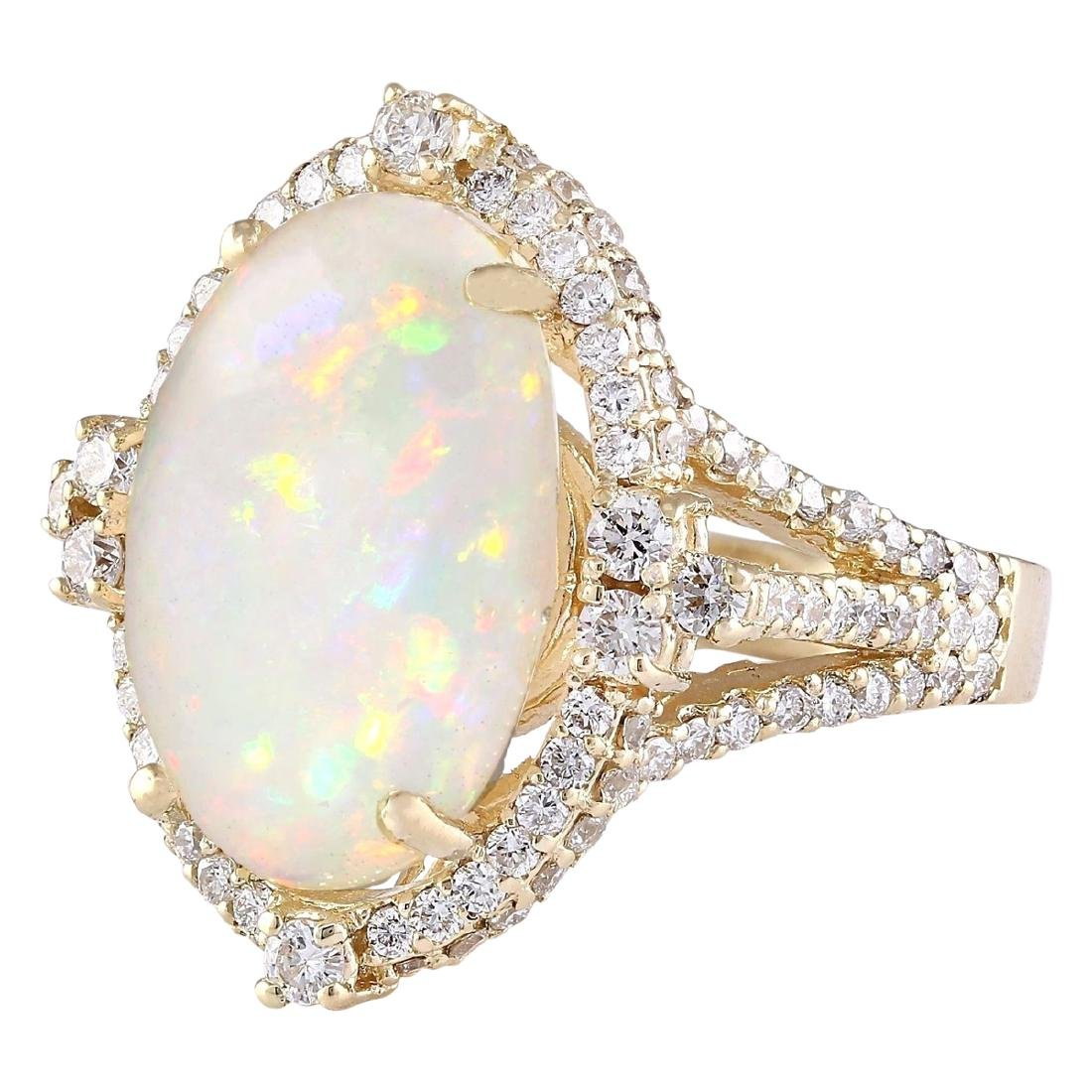 7.09 CTW Natural Opal And Diamond Ring In 18K Yellow - 2
